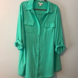 Mint Greet Button Up Blouse